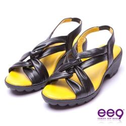 【ee9】經典手工-鏤空穿趾微透裸肌防滑粗跟涼鞋*黑色