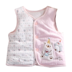 快樂熊鋪棉絲絨背心外套 粉 k60405 魔法Baby
