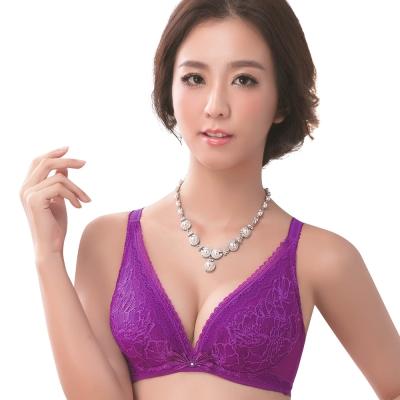 思薇爾 仲夏之夢系列B-E罩深V蕾絲包覆內衣(蜀葵紫)