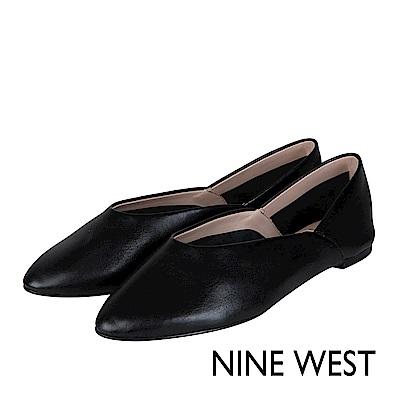 NINE WEST-柔軟全真皮復古平底鞋-復古黑