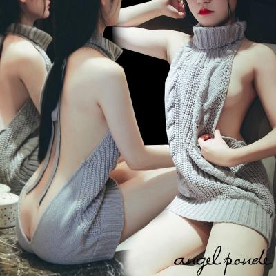 惹火尤物前後二穿裸露高領針織繫帶長上衣超短洋裝(共二色)-天使波堤