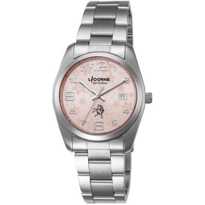 LICORNE 恩萃 Entree 簡約時尚設計都市花瓣腕錶-粉紅x銀白/36mm