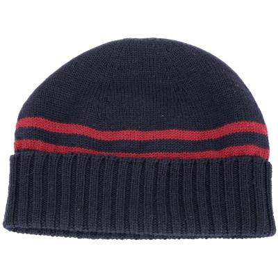 GUCCI 紅條織紋反褶設計毛線帽(深藍色/100%WOOL)