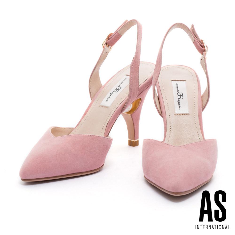 高跟鞋 AS 優雅質感珍珠點綴後帶美型尖頭高跟鞋-粉