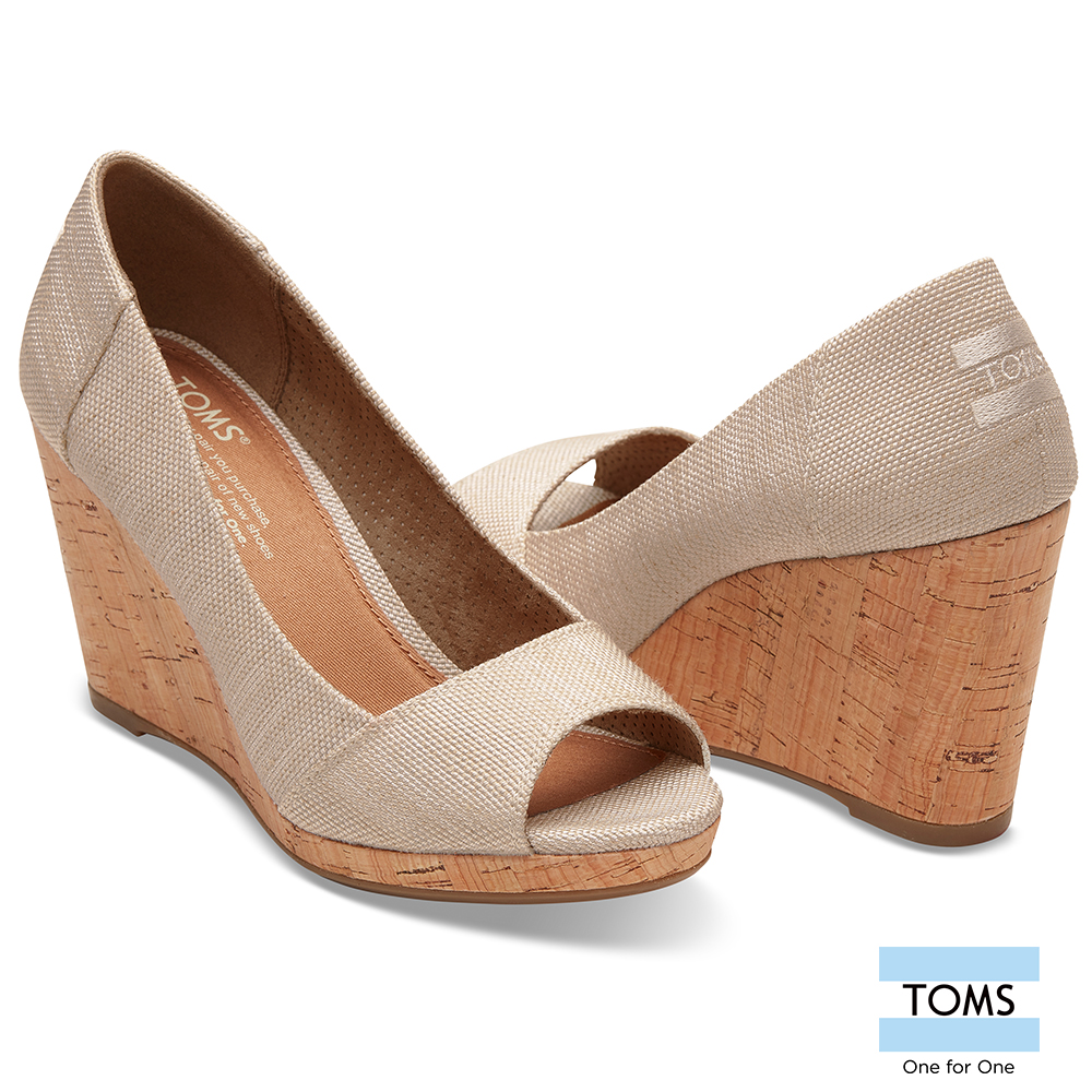 TOMS 帆布魚口楔形鞋-女款 @ Y!購物