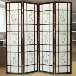 時尚屋 和風實木5.8尺單面三朵花屏風 寬176cm-免組