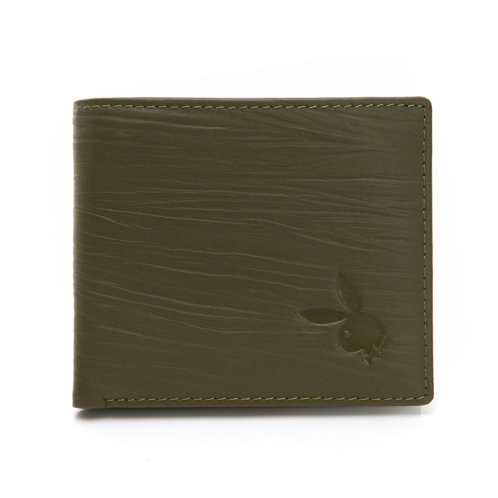 PLAYBOY- 中翻短夾 自然紋系列-橄欖綠