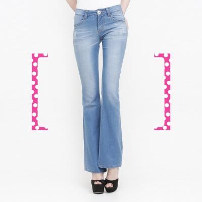 DEF-IT-一口濃郁的幸福-條紋剪接喇叭褲-淺藍