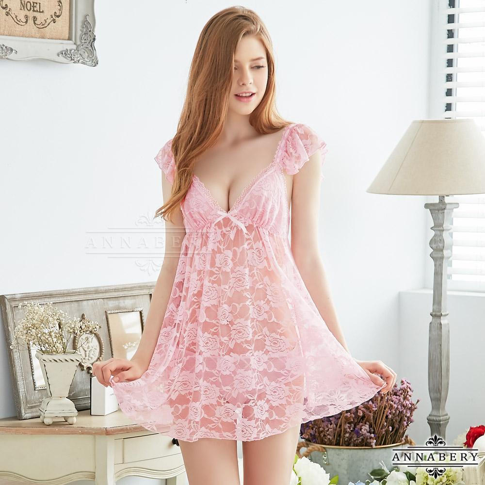 大尺碼Annabery粉紅緹花蕾絲小蓋袖二件式性感睡衣 粉L-2L Annabery