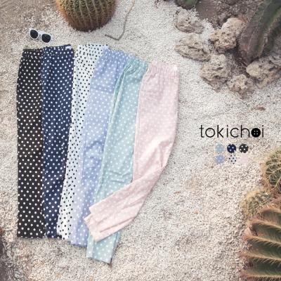 東京著衣 點點圖案鬆緊腰頭窄管褲-XS.S.M.L(共六色)