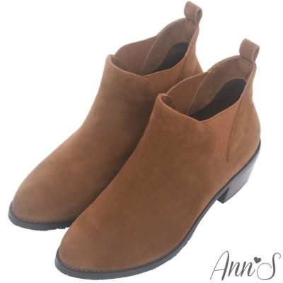 Ann'S時髦細節-側面隱形鬆緊V型粗跟短靴-棕