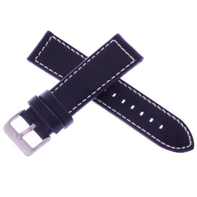 沛納海代用皮帶名廠同級酷黑黑色車白色線牛皮錶帶-24*22mm