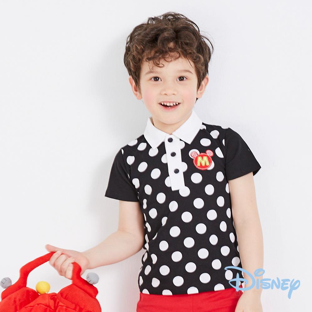 Disney 帥氣米奇點點POLO領上衣 黑色