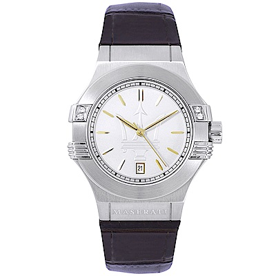 MASERATI 瑪莎拉蒂POTENZA璀璨晶鑽手錶女錶-白X深咖啡/34mm
