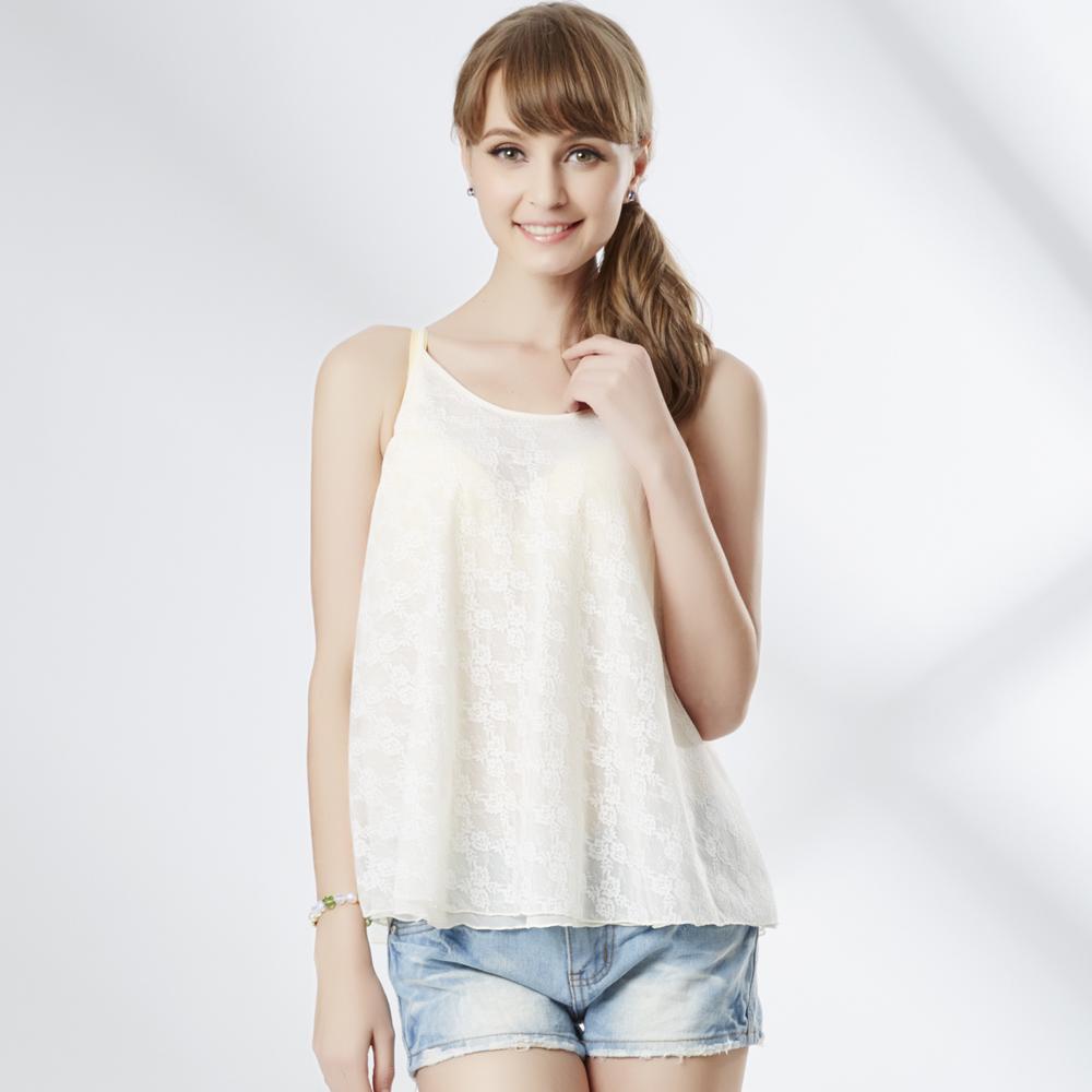 思薇爾 美姬樂章系列美背綁帶雙層蕾絲搭衣(香草奶)