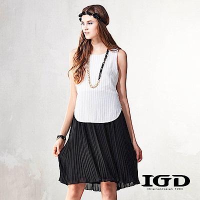 IGD英格麗  黑白撞色條紋百褶洋裝-白色