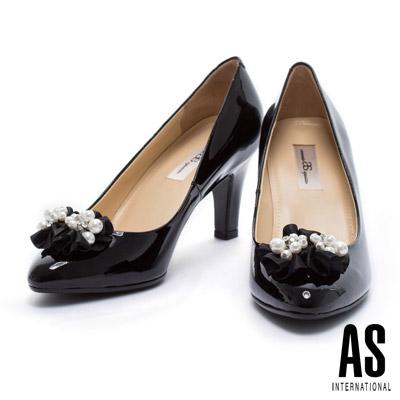 高跟鞋 AS 珍珠緞花全真皮尖頭高跟鞋-黑