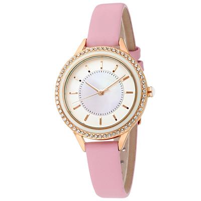MANGO 閃耀時光晶鑽時尚腕錶-粉/34mm