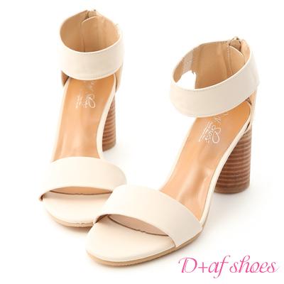 D+AF 時尚首選.極簡一字木紋高跟涼鞋*米白