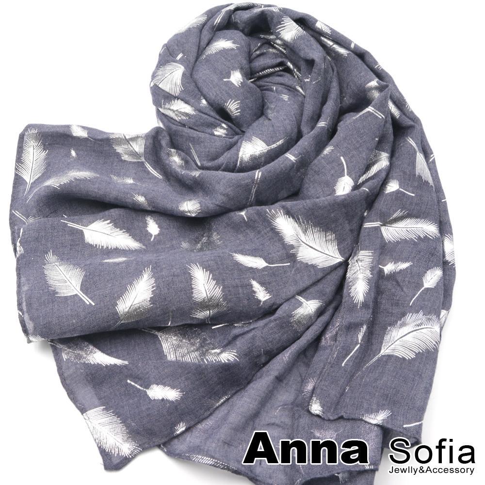 【滿額再75折】AnnaSofia 羽葉銀紛 柔軟混棉披肩圍巾(灰藍系)