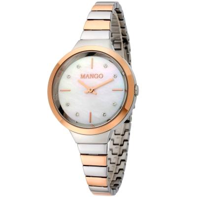 MANGO 典雅愛戀晶鑽時尚腕錶-白x雙色版/26mm