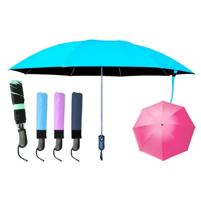 全自動鋁合金黑膠反向摺疊三折傘