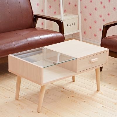 Bed Maker-雙拼玻璃 抽屜收納茶几/實木桌腳/台灣製(兩色)