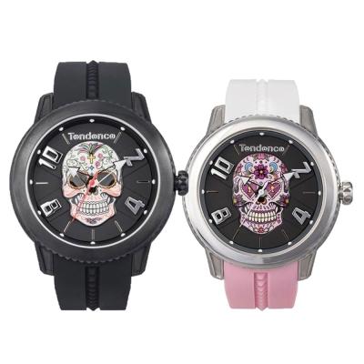Tendence 天勢錶-圓弧系列骷髏頭款情人對錶(花紋骷髏+銀白黑色花樣骷髏)45mm