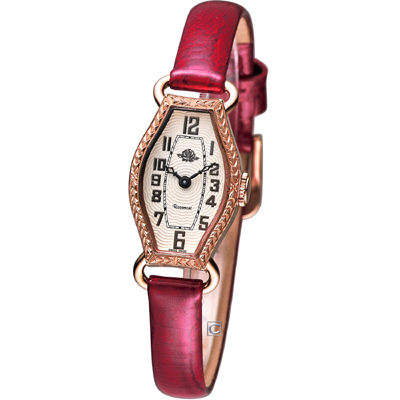 Rosemont 骨董風玫瑰系列腕錶-米白/紅/17mm
