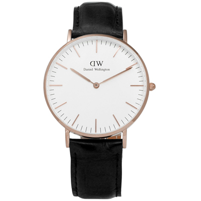 DW Daniel Wellington Classic鱷魚紋真皮手錶-玫瑰金x黑36mm