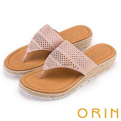 ORIN 夏日舒適時尚 幾何簍空燙鑽夾腳麻邊厚底拖鞋-粉色
