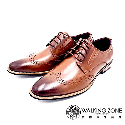 WALKING ZONE 工藝車縫木頭跟綁帶男皮鞋-棕(另有黑)