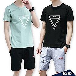 幾何圖形兩件式套裝 三色-HeHa