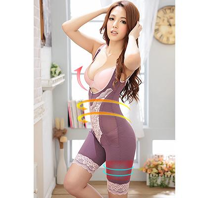 塑身衣 台灣製420丹咖啡紗連身束衣 S-XL(晶鑽紫) ThreeShape