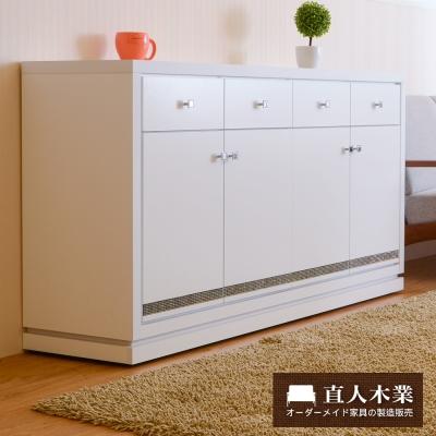 日本直人木業-CARO白色美學160公分廚櫃