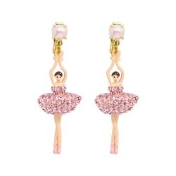 Les Nereides 優雅芭蕾舞女孩系列 珍珠淺粉亮鑽芭蕾舞者耳環 耳夾式
