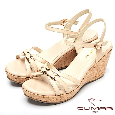 CUMAR時尚品味-經典造型船形跟真皮涼鞋-卡其