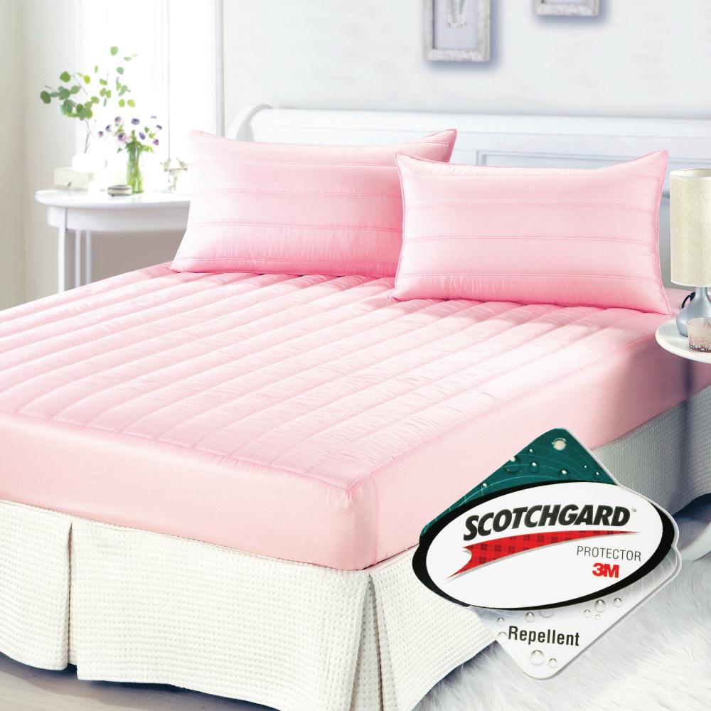 【精靈工廠】3M防潑水粉彩三件式床包保潔墊-櫻花粉(加大)