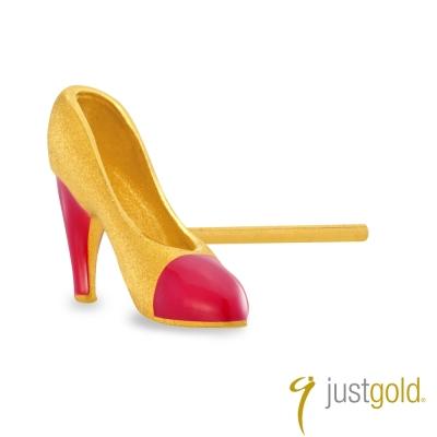 鎮金店Just Gold 黃金耳環單耳  繽紛派對 高跟鞋