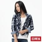 EDWIN 襯衫 貼布袖格紋襯衫-女-暗灰