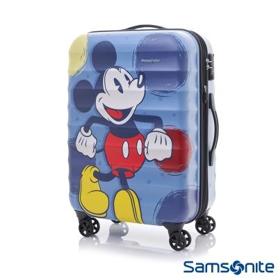 Samsonite新秀麗-Diseny米奇聯名款24吋TSA防刮可擴充行李箱-霧面藍