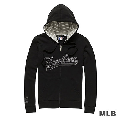 MLB-紐約洋基隊休閒連帽繡花外套-黑 (女)
