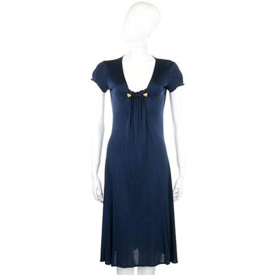 CLASS roberto cavalli 深藍色皺褶金屬穿飾短袖洋裝