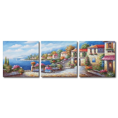橙品油畫布 - 三聯無框圖畫藝術家飾品- 意境 60x60cm