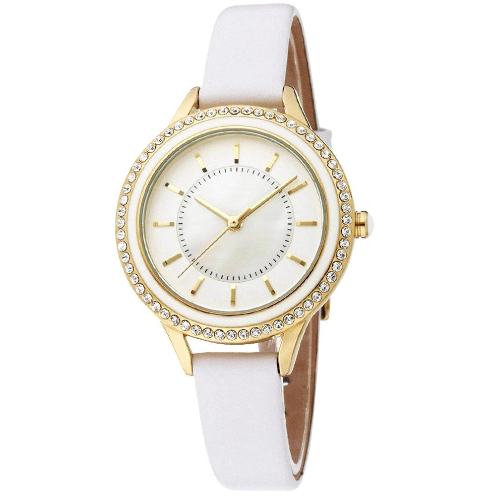 MANGO 閃耀時光晶鑽時尚腕錶-白/34mm