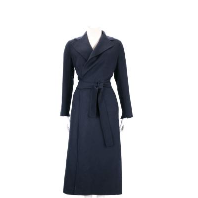 MAX MARA-'S Max Mara 深藍色綁帶羊毛長版大衣(100%WOOL)