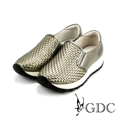 GDC-簡約時尚真皮編織紋厚底懶人休閒鞋-槍灰色