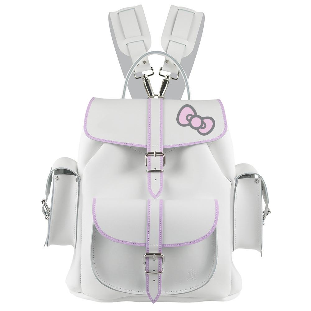 GRAFEA  POSH LILAC KITTY 手工牛皮雙肩包後肩包兔子包(粉紫/白)