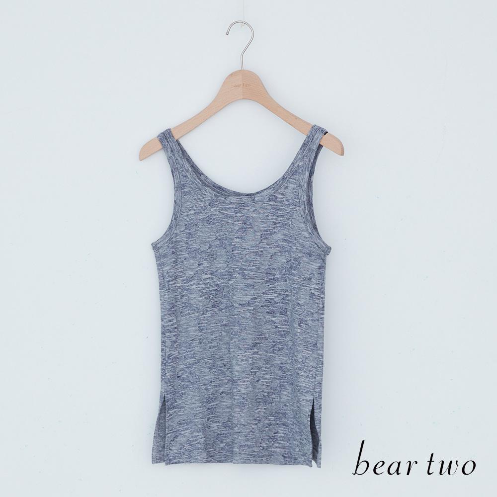 beartwo 下擺開衩混色感內搭背心(藍色)