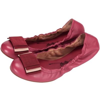 BALLY BEATRIS 小羊皮蝴蝶結芭蕾舞鞋(莓紅色)